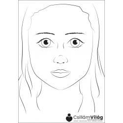 Practice sheet, girl face, A4
